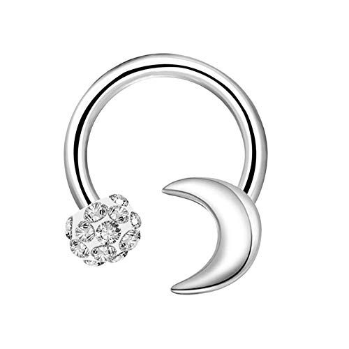 2949a7bbf4157 OUFER 16G Surgical Steel Horseshoe Circular Barbell CZ Ball and Moon ...