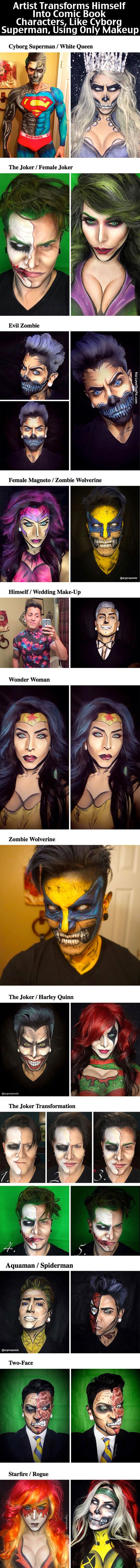 Artist Transforms Himself Into Comic Book Characters, Like Cyborg Superman, Using Only Makeup makeup art cool artistic halloween halloween makeup ideas comic book superheroes supervillians