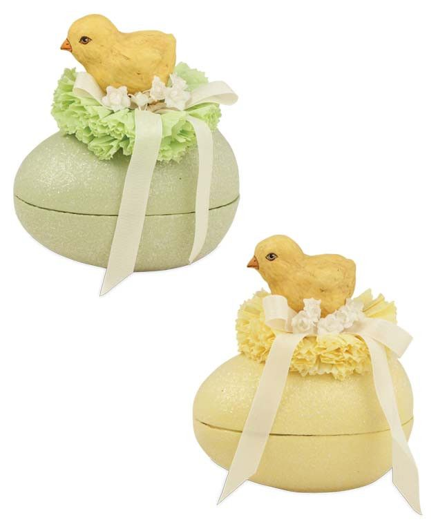 Bethany Lowe Chicks On Egg Containers - The Holiday Barn