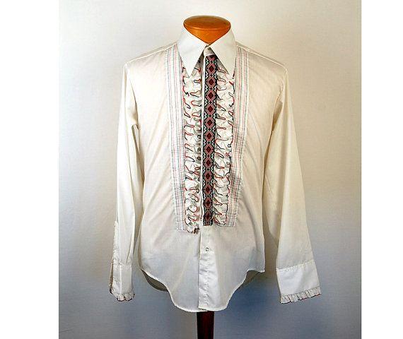 1970s tuxedo shirt ruffled tux shirt red black by vintagerunway, $49.00