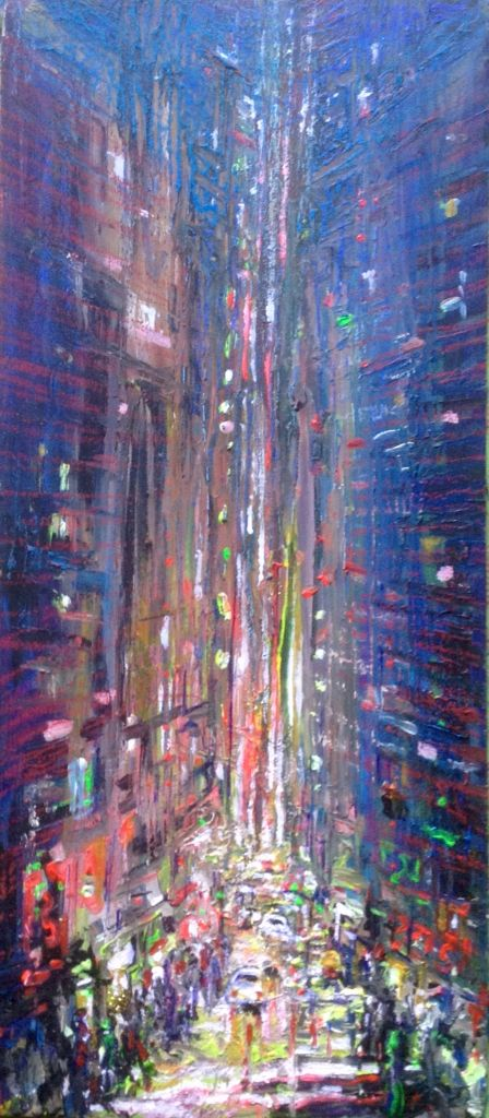 Semi abstract cityscape, acrylic, pen, crayon, and glitter highlights on board, Wakefield Artist Tim Burton.