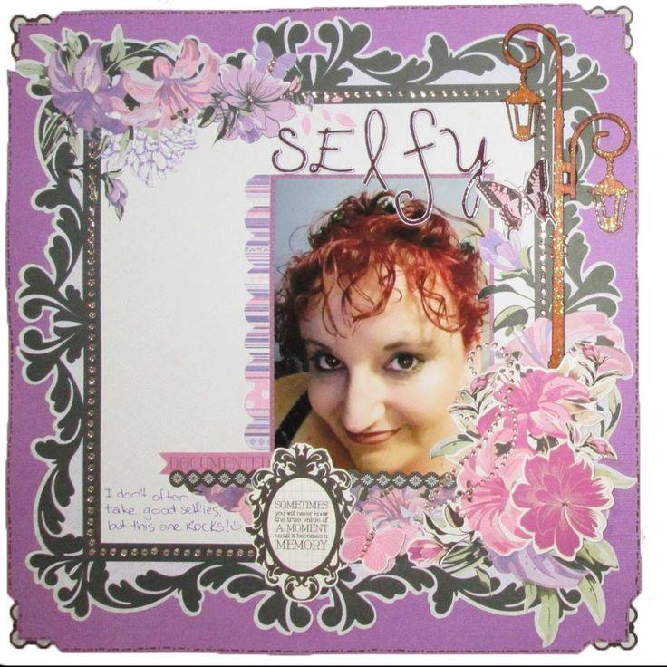 Selfy - Scrapbook layout - Kaisercraft Violet Crush collection ~Karyn Watton