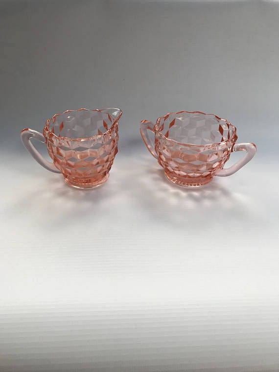 Pink Depression Glass Jeanette Glass Company Cube or Cubist