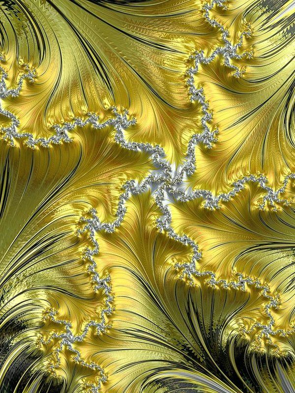 Fractal Print featuring the photograph Silver Fractal Star On Gold by Mo Barton
