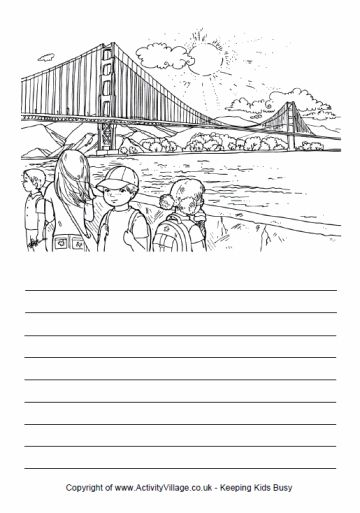 Story paper and coloring page, San Francisco, Golden Gate Bridge