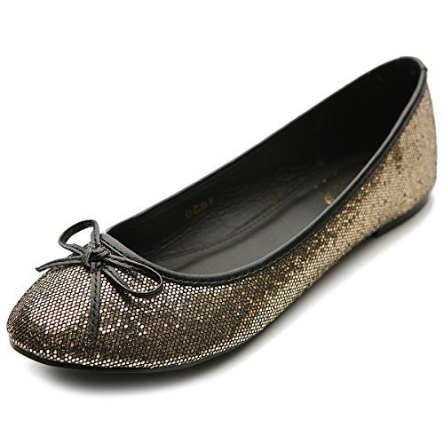 Ollio Womens Ballet Shoe Round Toe Glitter Comfort Multi Color Flat8 BM US Gold -- Click on the image for additional details. Note:It is Affiliate Link to Amazon.