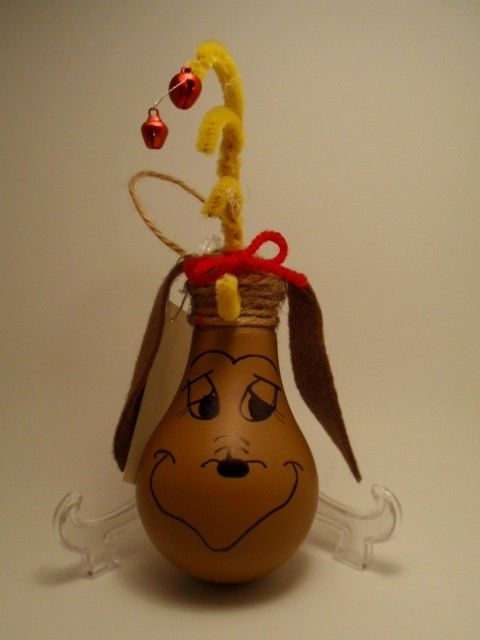 Max the grinch's dog Lightbulb Ornament by brightideasbylorrie