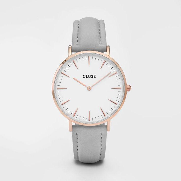 Die CLUSE Uhr La Bohème Rosé Gold White Grey ist ein zeitlos klassischen Must-Haves, bei dem ein schillerndes Grau auf ein strahlendes Rotgold trifft.