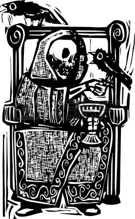 Woodcut style image of the skeleton death drinking wine in a throne with crows or ravens