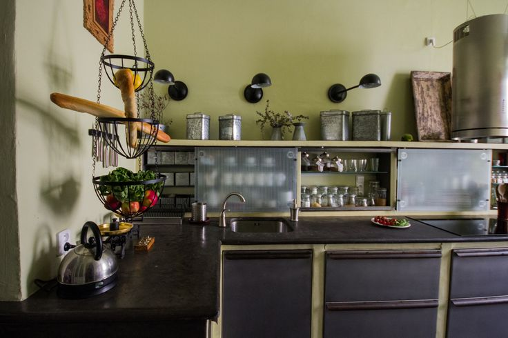 Gray yellow-green industrial kitchen, RabunaDesign
