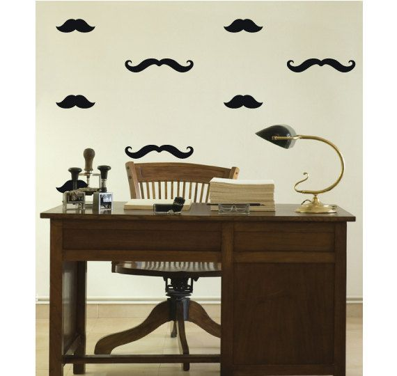 OVERVIEW ----------------------------------------------------- A fantastic pack of 40 mixed mustache shapes to spice up any room! You will receive a mix of 2 mutache shapes, 30x small mustaches and 10x long mustache stickers. A great novelty item to make most smooth, flat surface look great! Sizes are- * 30x Small Mutaches (2.7cm Height x 7cm Width) * 10 x Long Mustaches (2.5cm Height x 10cm Width) - Materials: Vinyl decal/Wall stickers, vinyl wall decal, adhesive vinyl, removable d...