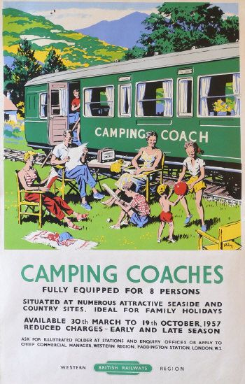 RILEY: Camping Coaches poster printed for British Railways 1957  via Morphets
