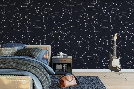 Removable Peel And Stick Wallpaper Constellations Outer Space Etsy Peel And Stick Wallpaper Vinyl Wallpaper Removable Wallpaper