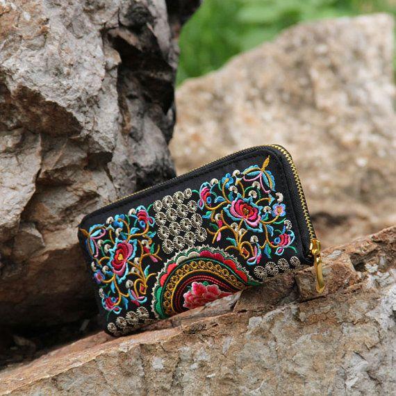 Vintage Wallet Hand bestickt Kupplung Folk Stil Damen bestickte Tasche Retro-Klassiker lange Brieftasche Geldbörse kompaktes Portemonnaie