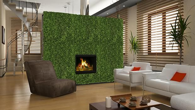 Green Wall with fire place