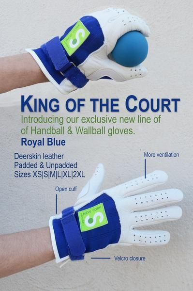 King of the Court Royal Blue Padded – New York Handball Store