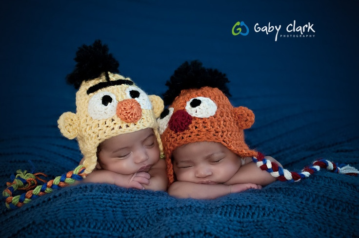 I AM MAKING THESE!!!! twin burt and ernie hat set by PetuniaandIvy from Etsy.com  Photography credit: Gaby Clark