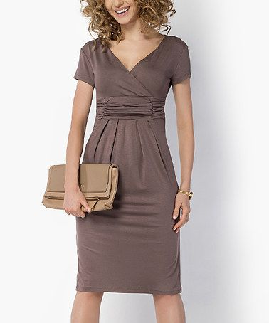 Loving this Cappuccino V-Neck Empire Waist Dress on #zulily! #zulilyfinds
