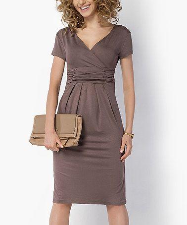 Loving this Cappuccino V-Neck Empire Waist Dress on #zulily! #zulilyfinds