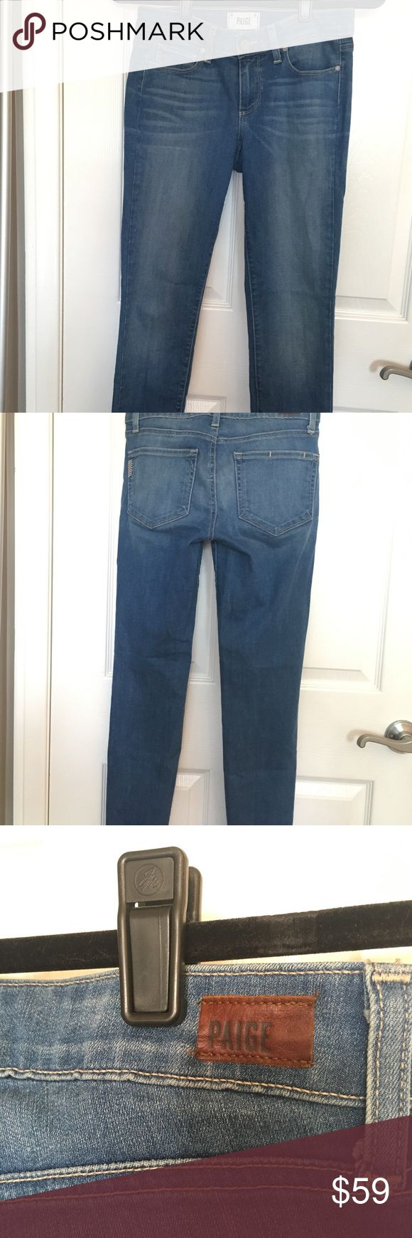 PAIGE Premium Denim Jeans Kylie Crop Skinny Paige Premium Denim Kylie Crop Skinny Distressed Wash. Mid rise. Looks super cute cuffed or straight. Good condition. Paige Jeans Jeans Ankle & Cropped