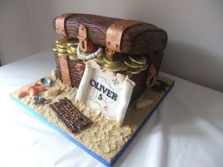 Pirate treasure chest birthday  cake