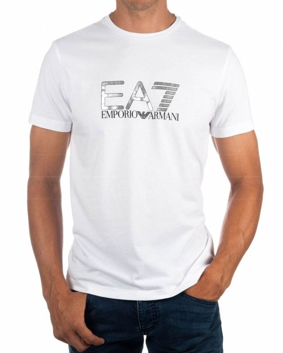 Camisetas Armani EA7 Blancas - Train Logo Series