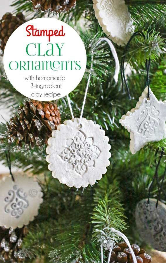 Stamped Clay Ornaments w/ Homemade Clay Recipe -These Stamped Clay Ornaments are easy to make starting with this 3-ingredient homemade clay recipe.
