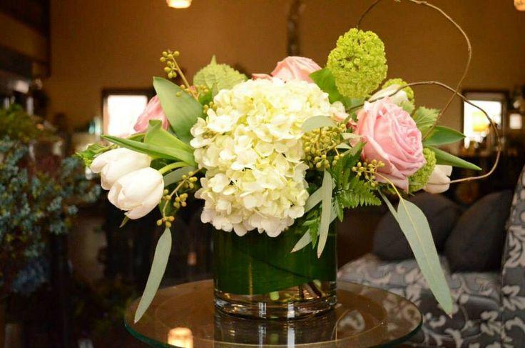 "6"" cylinder, hydrangea, roses, tulips, viburnum"