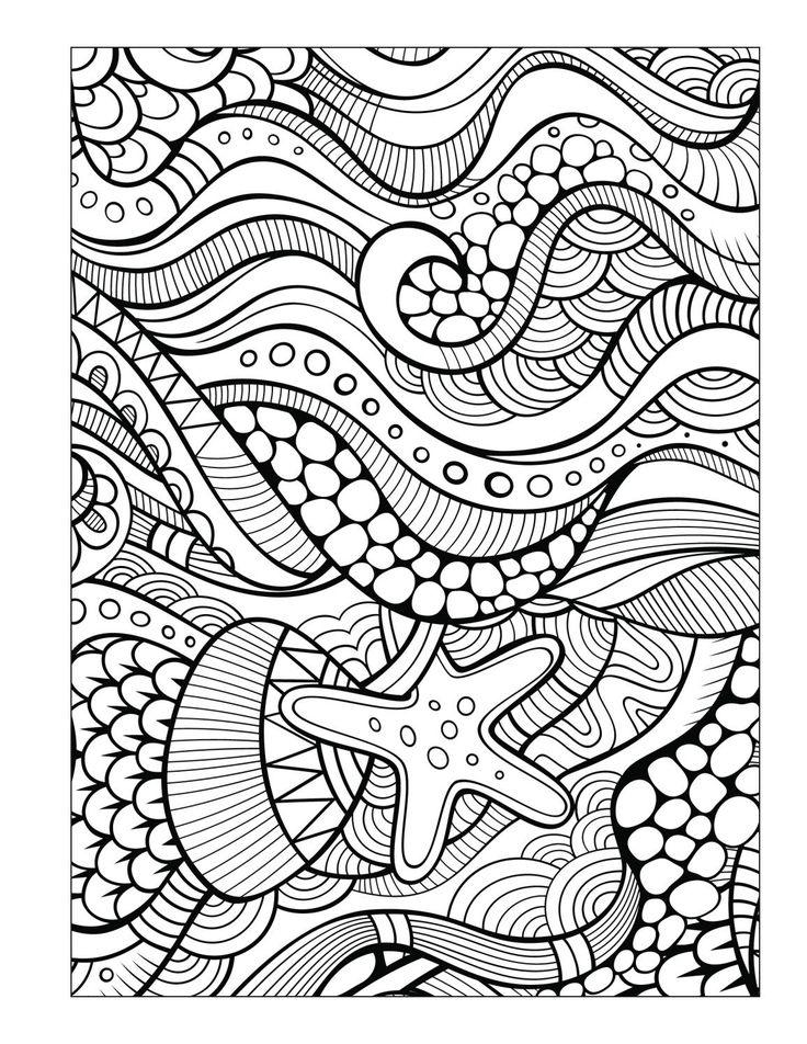 938 Best Adult ColouringUnder The Sea FishMermaidsShells