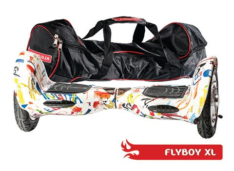 FlyboyXL in Graffiti White. Get it in a bag! This model has more GO than the other models. With it's larger, inflatable wheels, it can go where the others can't. Visit www.flyboys.co.za for more specs on this model and more