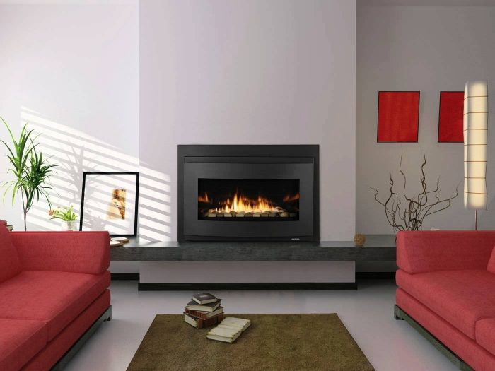 Black, White And Red Living Room In Rectangular Designs