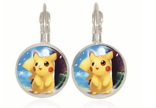 Pokemon Pikachu Gem Stud Earrings Kawaii Harajuku