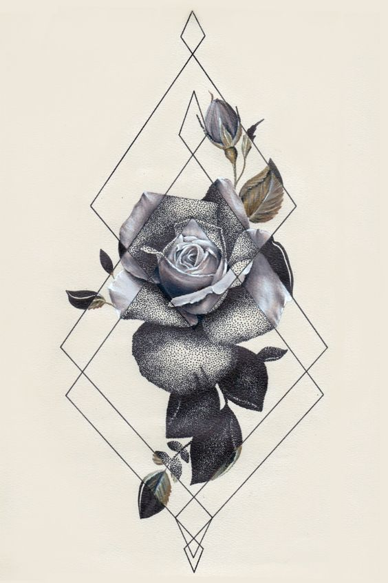 Tattoo inspiration flower geometric triangle black and white