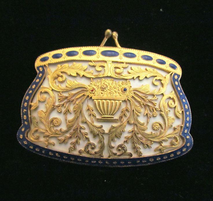 Italian Gold Ormolu Enamel Compact Purse 1900s Antique Excellent Condition Rare