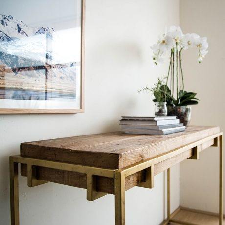 Barry 1.4m Reclaimed Pine Narrow Wood Console Table