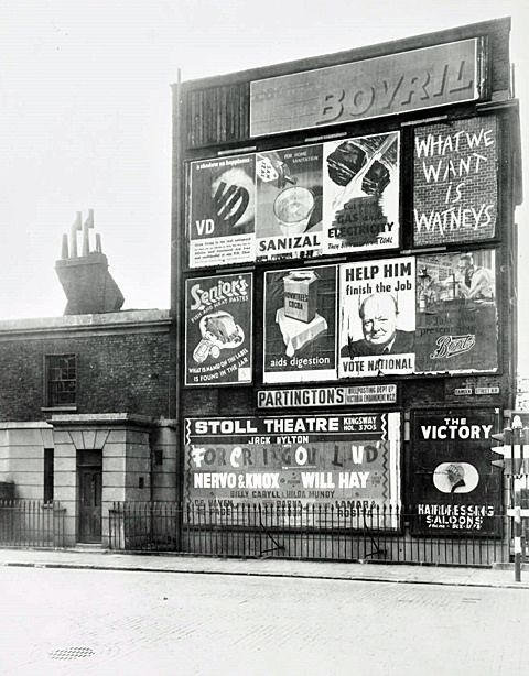 https://flic.kr/p/rAE5FJ | Advertisement Hoarding, Camden Street c1945 | Description: Advertisement hoarding on Camden Street. Multiple adverts can be seen on display, including an election poster for Winston Churchill. Date of Execution: 1945 Medium: photograph Collection: LCC Photograph Reference No: SC/PHL/02/0931/75/13146 Find more images of historical advertising across London on our image library COLLAGE.