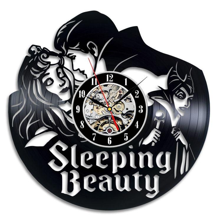 Personalized Carton Vinyl Gift Clock Sleeping Beauty Wall Hanging Handmade Art