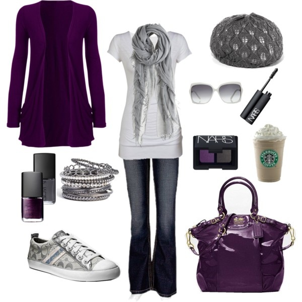 Outfit complete with a starbucks! ;-): Purple Outfit, Clothes Style, Stuff, Color, Coach, Untitled 104, Polyvore, Scarf, Chelseawate
