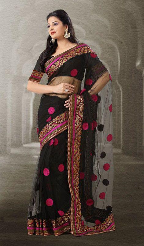 Black Net Embroidered Saree Price Usa Dollar 111 British Uk Pound