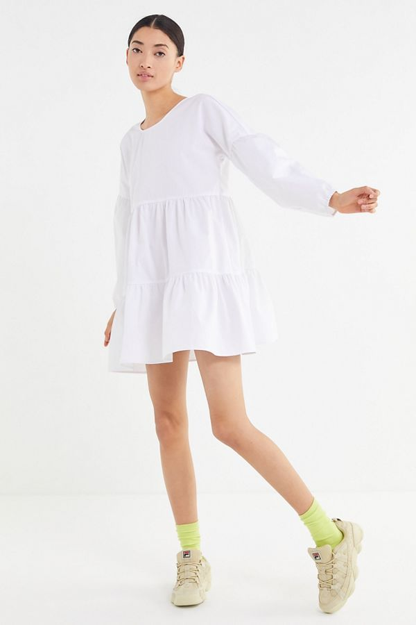 bcba6093fcdc Urban Renewal Remnants Long Sleeve Tiered Poplin Mini Dress | Urban  Outfitters
