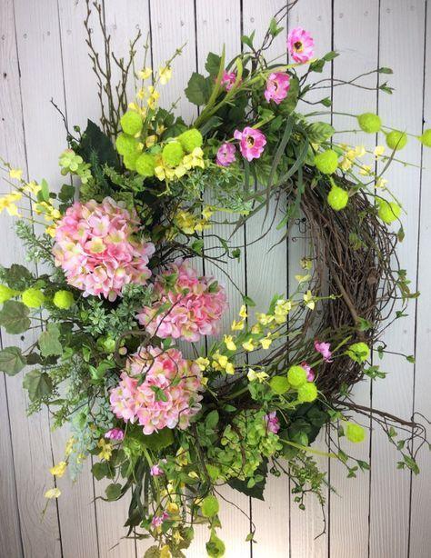 Delux Sping Wreath Large Spring Wreath Front Door Wreath Summer