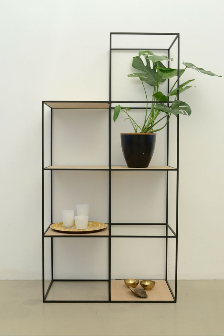 Attractive Beautiful Shelf Built Up Symmetrically And Made Of Fine Steel And Plywoodu2026