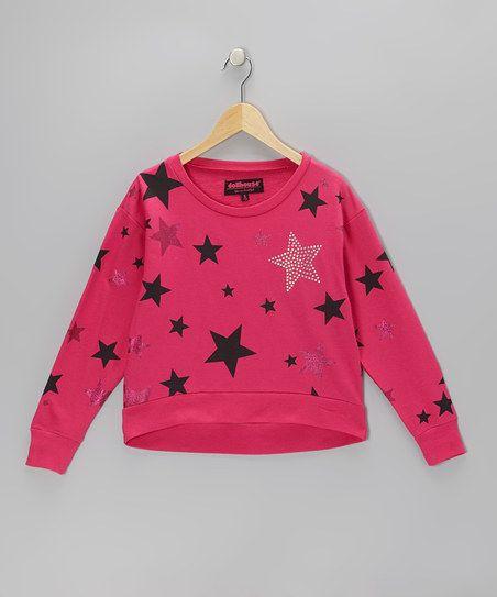 Fuchsia Sparkle Star Sweatshirt - Girls