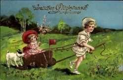 Carte postale Glückwunsch Geburtstag, Kinder mit Wagen, Hund