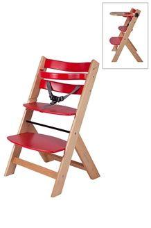 Chaise haute évolutive en bois<BR>Dès 6 mois - Rouge