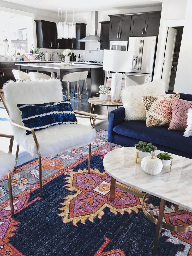 Living Room Reveal With Images Blue Couch Living Room Modern Bohemian Living Room Boho Chic Living Room