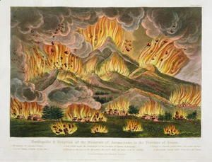 Earthquake and Eruption of the Mountain of Asama-yama, in the Province of Sinano, from Illustrations of Japan by Isaac Titsingh c.1740-1812 published London, 1822  Joseph Constantine Stadler