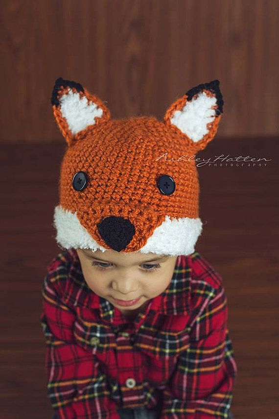 Crochet Pattern for Woodland Fox or Wolf Hat - 6 sizes, baby to large adult - Welcome to sell finished items on Etsy, $4.95