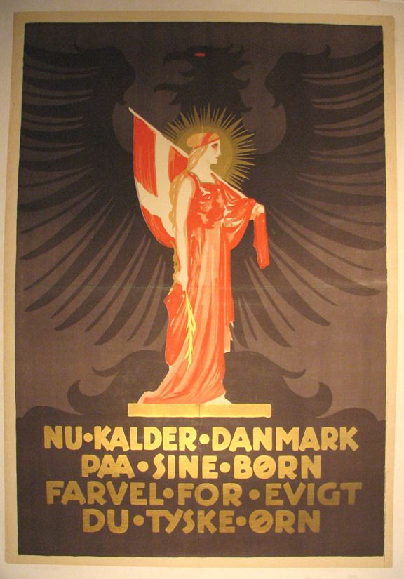 Vintage Danish Poster from 1920 - Now Denmark Calls on its Children to Say Goodbye Forever to You, the German Eagle. By Thor Bøgelund 1890-1959.