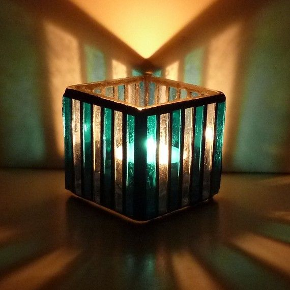 Blue Stripe Stained Glass Candle Holder